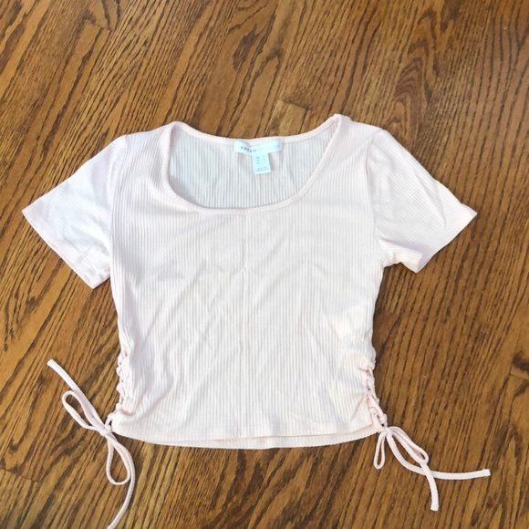 Urban Heritage Side Lace-Up Light Pink Crop Top